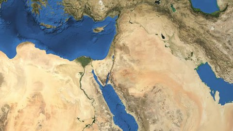 Israel. 3d earth in space - zoom in on Israel contoured.