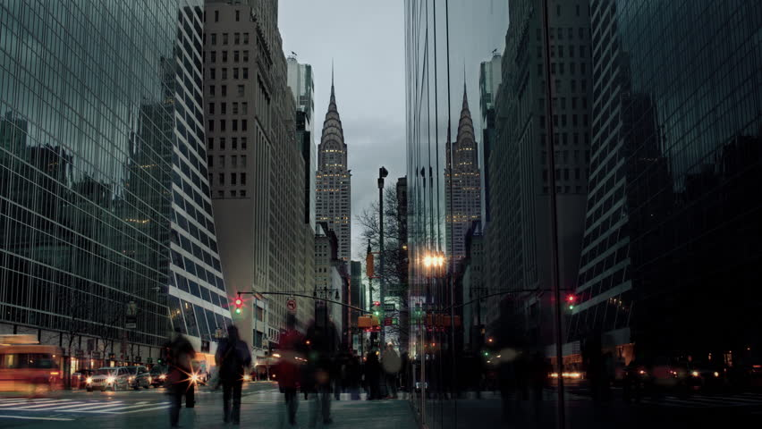Chrysler Building Timelapse from Day to Night with People and Traffic in Midtown Manhattan New York City, NYC, USA | Shutterstock HD Video #7588387
