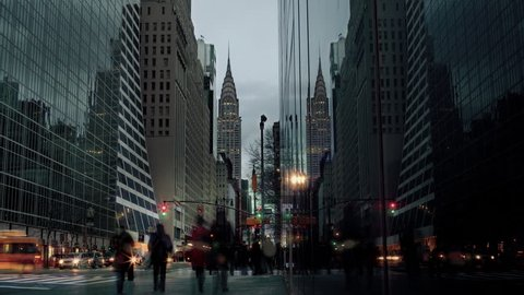 Chrysler Building Timelapse from Day to Night with People and Traffic in Midtown Manhattan New York City, NYC, USA
