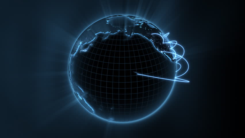 Loopable 3d animation of a spinning globe with a growing global network - blue version   Shutterstock HD Video #761989