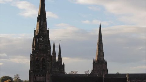 Spires of Lichfield Cathedral and St Marys Church Rooftop Point of View Look Over Historic City Lichfield Cloudy - October, 2014