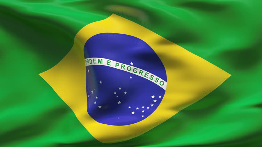 Creased Brazil satin flag with visible wrinkle and seams