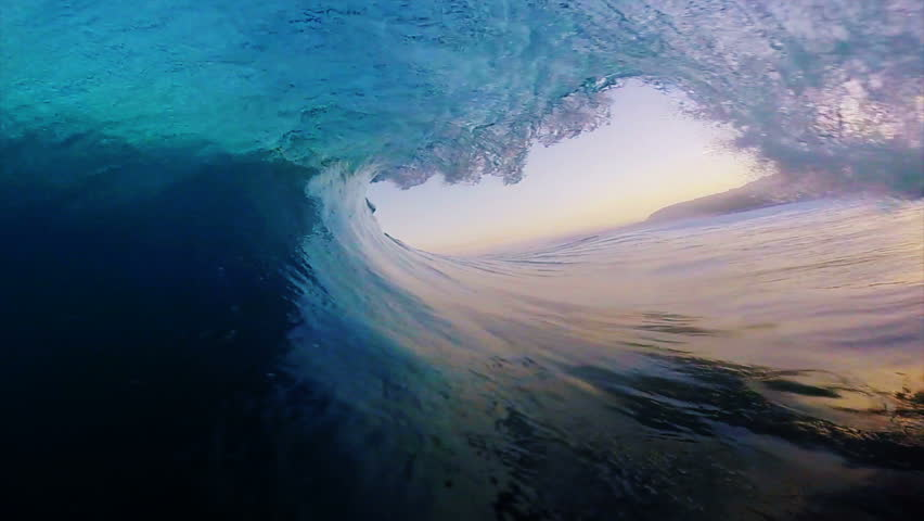 POV Surfing View Of Empty Ocean Wave Crashing #7645297
