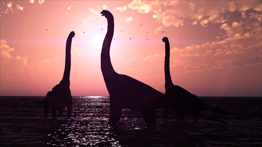 3D rendering of three brachiosaurus in a prehistoric lake at sundown with a flock of pterodactyls in the background