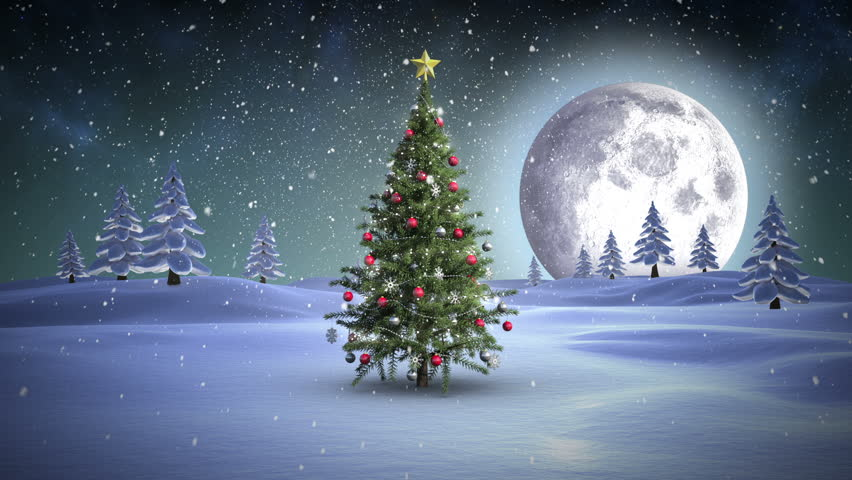digital animation of santa showing christmas tree in snowy landscape hd stock video clip - Santa North Pole