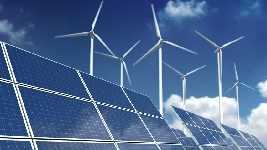 Solar panel array and wind turbines over a sky time laps. | Shutterstock HD Video #775651