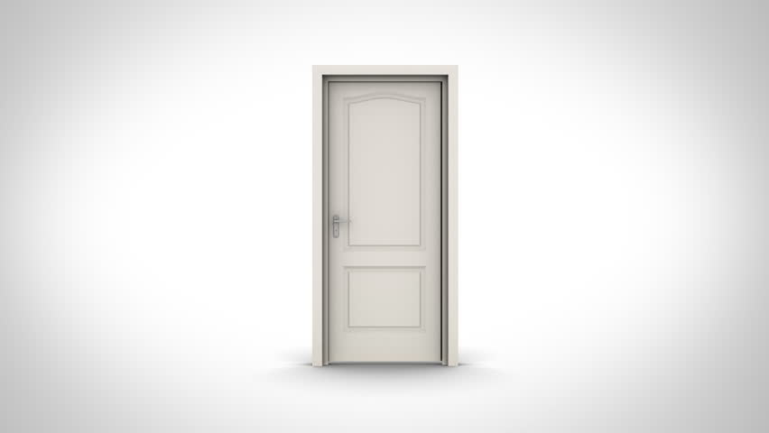Door opening on white background