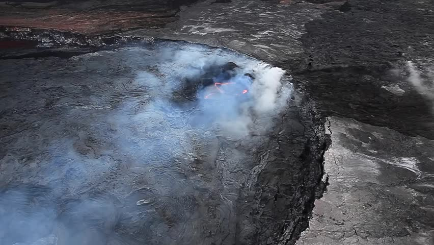 Aerial view of volcano in Volcano National park Big island Hawaii