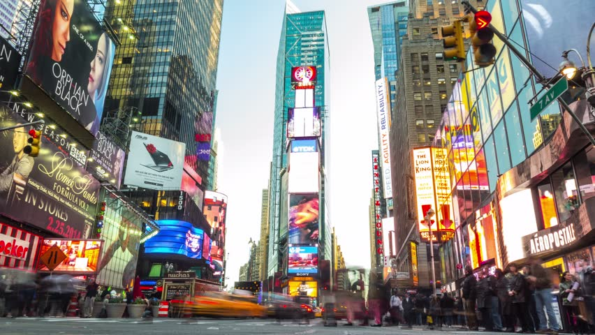 NEW YORK CITY - April 14: Time lapse of Times Square from day to night.    Shutterstock HD Video #7796947