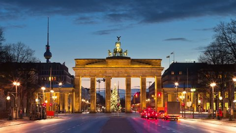 The Brandenburg Gate in Berlin, Germany. Timelapse view.