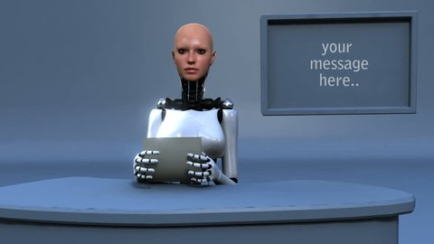 Female android reading the news advanced CGI with matte to easily composition.