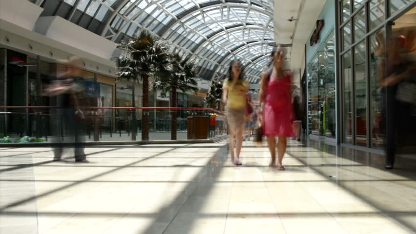 Time lapse of people at shopping mall.
