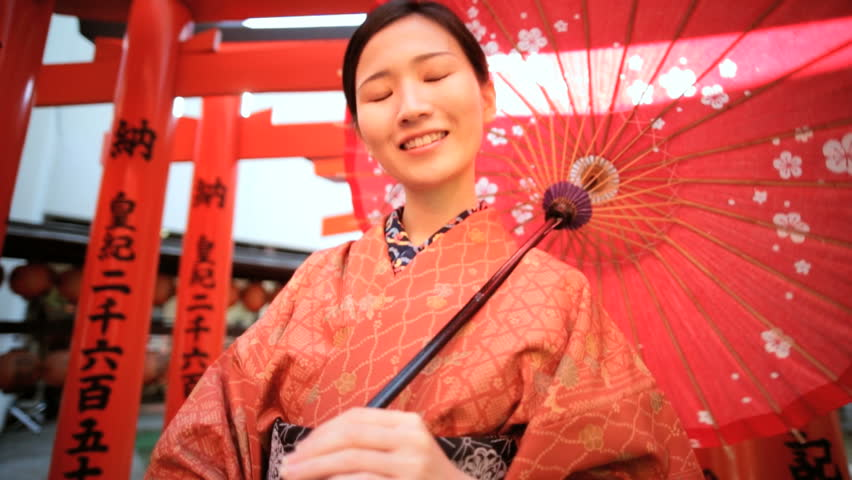 Portrait Asian Japanese female Japan traditional costume kimono parasol Buddhist temple travel tourism advertisement slow motion | Shutterstock HD Video #7836166