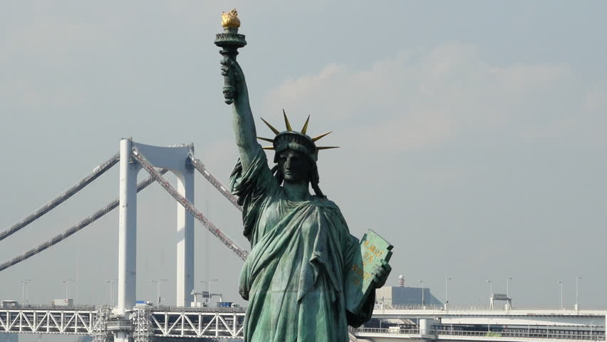 Tokyo Japan Circa September 2014 Replica Statue of Liberty with Peace Bridge in the Background  -  Tokyo Japan Circa September 2014 | Shutterstock HD Video #7844197