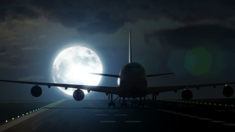 Jet plane departs from airport runway as silhouette in front of large full moon 4K UltraHD