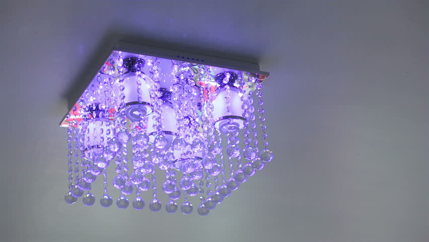 Crystal Chandelier Ceiling Light Turn On And Off Stock Footage ...