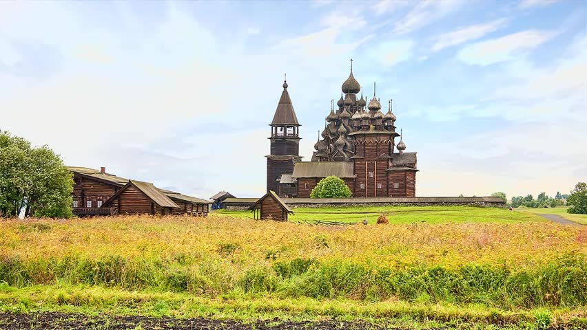 View of the field and the old Orthodox Church. 3D animation | Shutterstock HD Video #7866187
