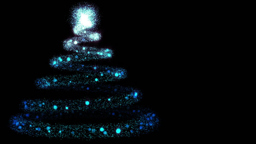 hd0020glowing particles being emitted from light source to form a spiral trail in the form of a christmas tree left frame with copy space on the right hd