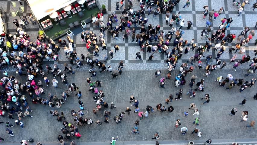 People walking on the street - aerial   Shutterstock HD Video #7875436