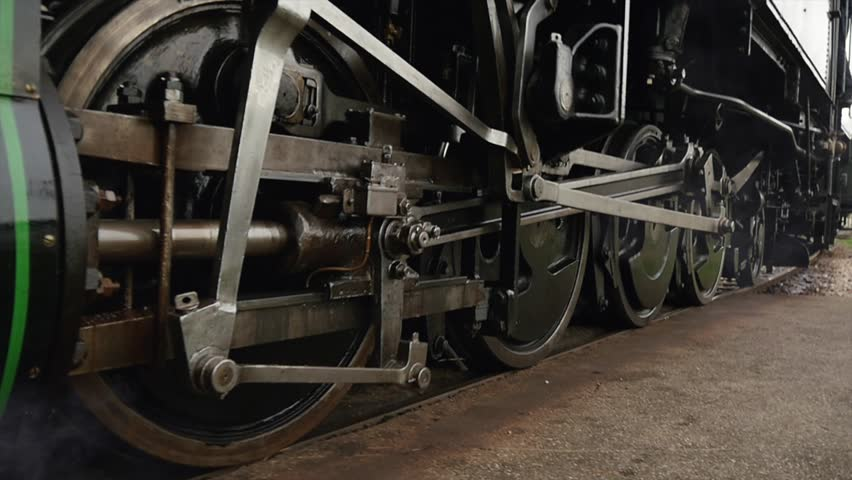 Heavy Industrial Steam Locomotive Train Engine Wheels Passing In Slow Motion. Stock Footage ...