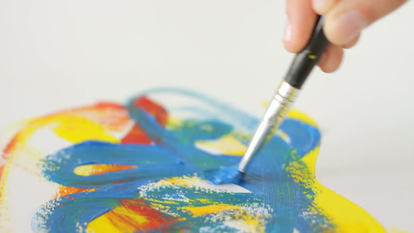 Painting with a brush on the peace of paper, art, fantasy, camera movement | Shutterstock HD Video #7881157