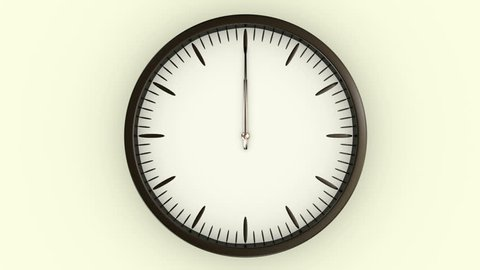 Animated clock spinning through twelve hours in a time lapse.