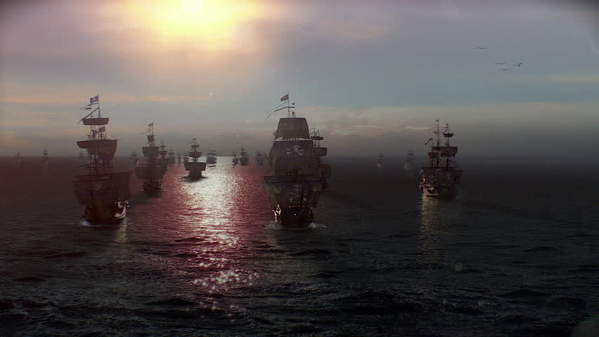 Pirate ships at sunset offshore, Pirate Fleet or Pirate Armada