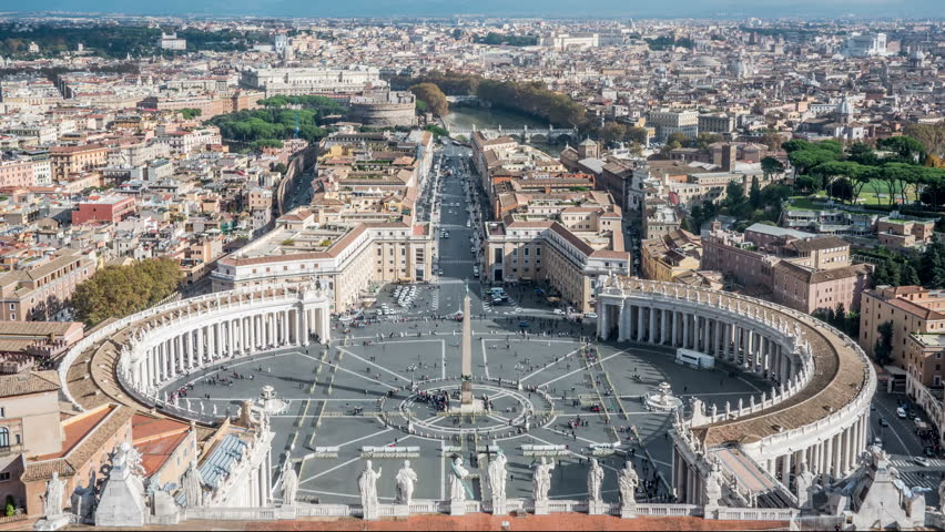 Timelapse View at St. Peter's square from dome of St. Peter Basilica in Rome in Italy