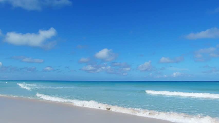 Beautiful Tropical Exotic Empty Beachcaribbean Stock Footage