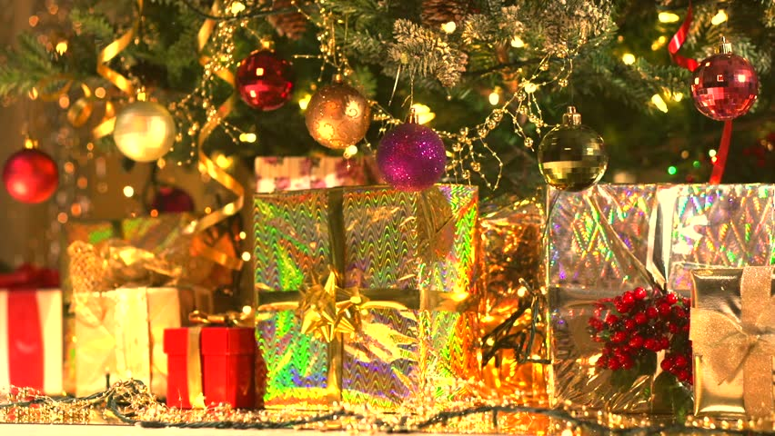 Decorated Christmas Tree with Gifts. Stock Footage Video (100 ...