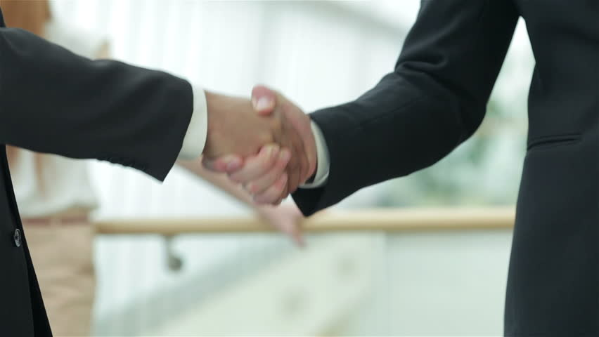 A firm handshake. Two successful smiling businessmen shaking hands with each other while discussing | Shutterstock HD Video #8015227