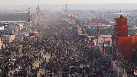 Millions of Hindu pilgrims attending the Kumbh Mela festival, the world's largest religious gathering, in Allahabad (Prayag Raj), Uttar Pradesh, India.