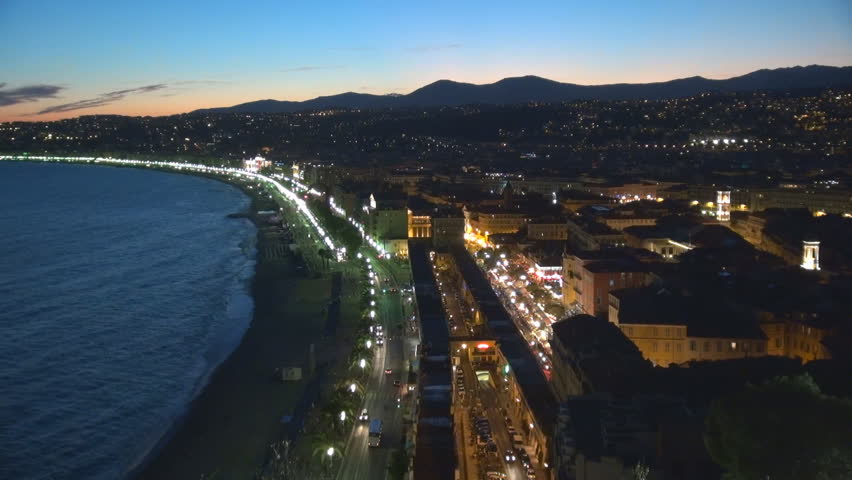 Aerial view of Nice luxury resort on french riviera by night
