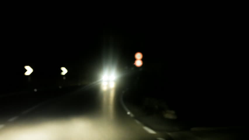 Driving at night on dark street. First-person point-of-view.  | Shutterstock HD Video #8046739
