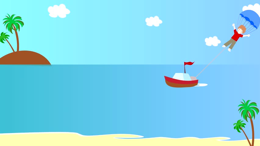 The Boat Pulls Girl On A Parachute Over The Sea, Animation, Cartoon Stock Footage Video 8048416 ...