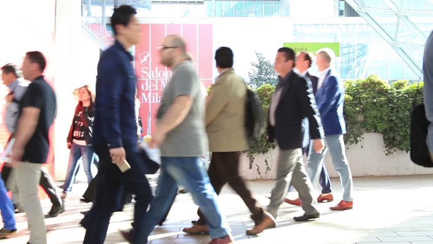 MILANO - APRIL 10, 2014: People at the entrance of Salone del Mobile, international home furnishing and accessories design exhibition in Milano, Italy. | Shutterstock HD Video #8053207