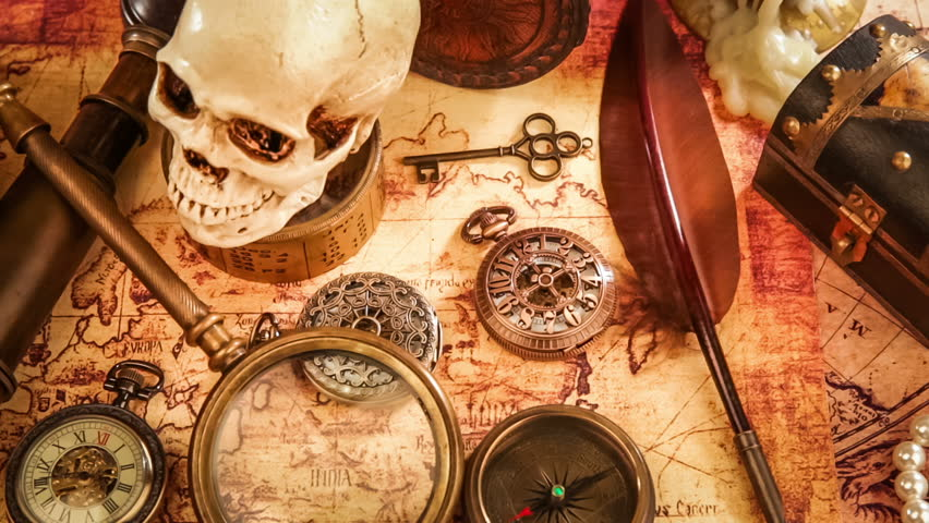 Vintage antique pocket watch against the background of old books vintage magnifying glass compass telescope and a pocket watch lying on ancient world map gumiabroncs Choice Image