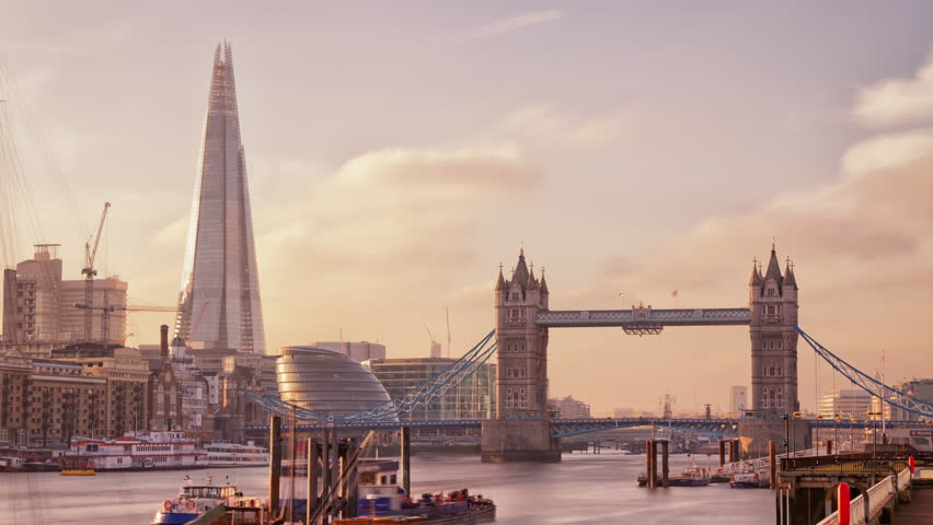 Perfect Sunset with London Tower Bridge, Shard, Time Lapse