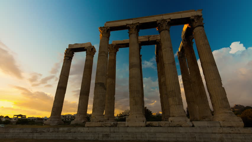 4K Motion controlled sunset Timelapse of pillars In the temple of Olympian Zeus in Olympeion of Athens Greece.