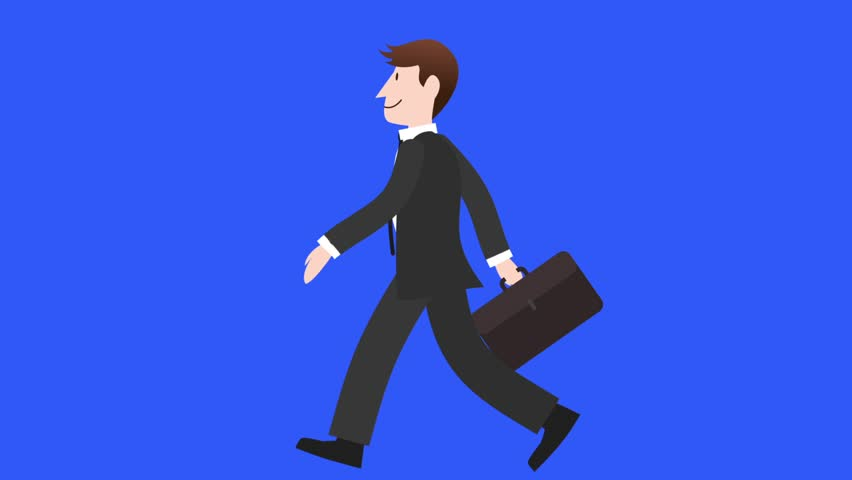 Businessman Walk Cycle 1. A walk cycle of a smiling young caucasian businessman holding a portfolio against a blue background. It also has a separate matte clip after.