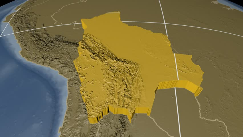 ANGOLA Extruded On The World Map With Administrative Borders And