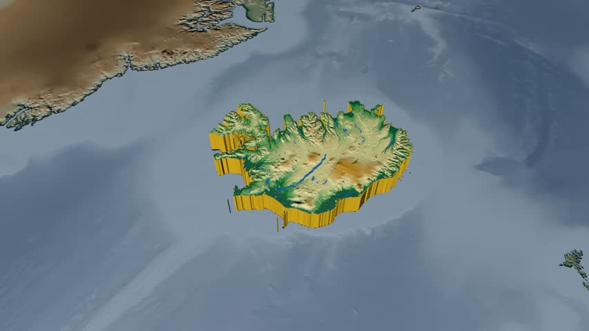 Iceland extruded on the world map with graticule rivers and lakes iceland extruded on the world map rivers and lakes shapes added colored elevation and gumiabroncs Images