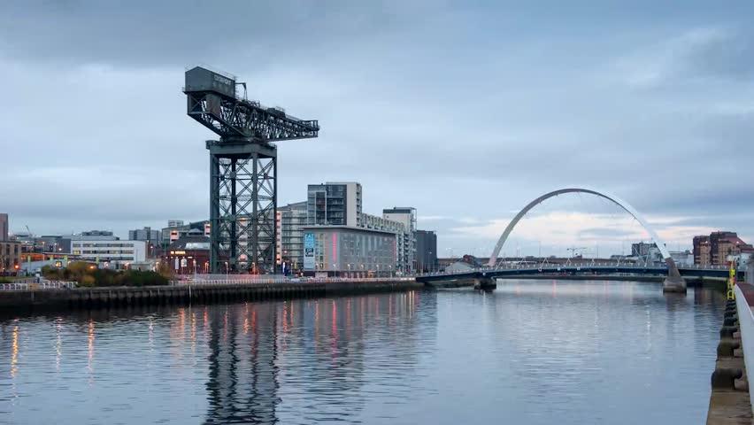 GLASGOW, SCOTLAND - 24 NOVEMBER 2014: Timelapse video of the Clyde Arc bridge (aka Squinty Bridge), Finnieston Crane and the river Clyde on November 24 2014 in Glasgow.