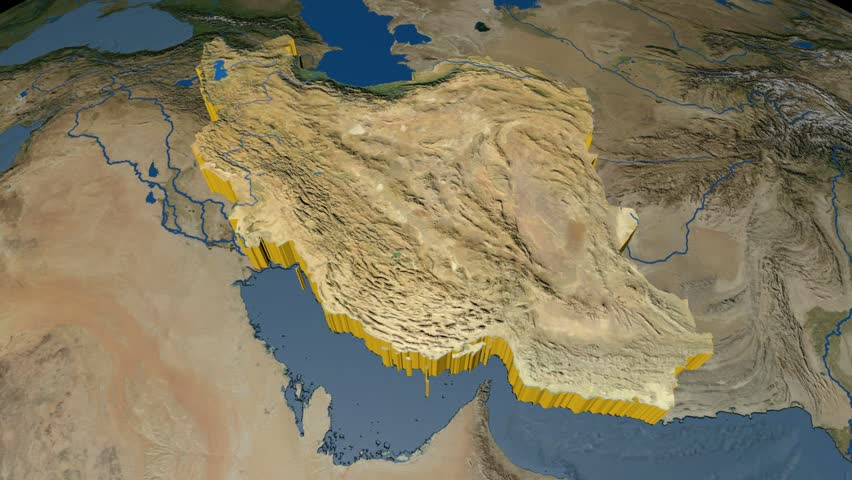 Iran map with borders view from space earth globe stock footage iran extruded on the world map rivers and lakes shapes added high resolution blue gumiabroncs Images
