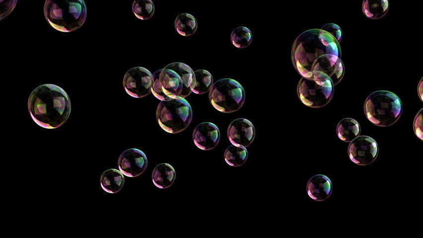 4k soap bubbles isolated on black background, seamless loop (Hd, seamless loop, 3840 X 2160, ready for compositing, isolated on black, with alpha channel)  Calm Video Background Loop