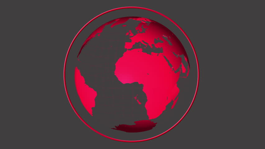 hd0015digital animation of red globe spinning on grey background