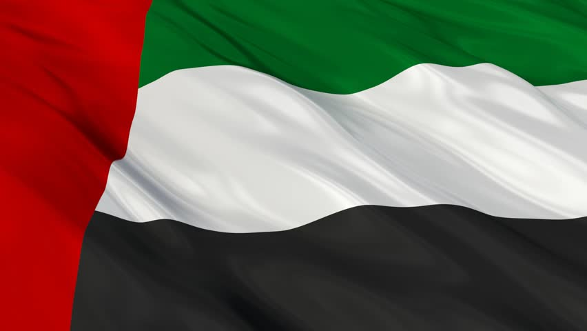 Flag of United Arab Emirates waving in the wind. Seamless looping. 3d generated.