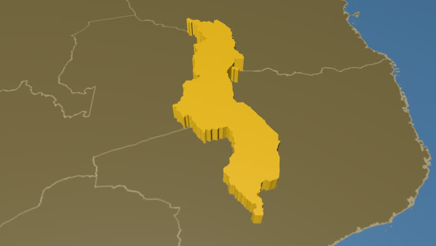 Malawi extruded on the world map with administrative borders. Solid colors used.   Shutterstock HD Video #8165797