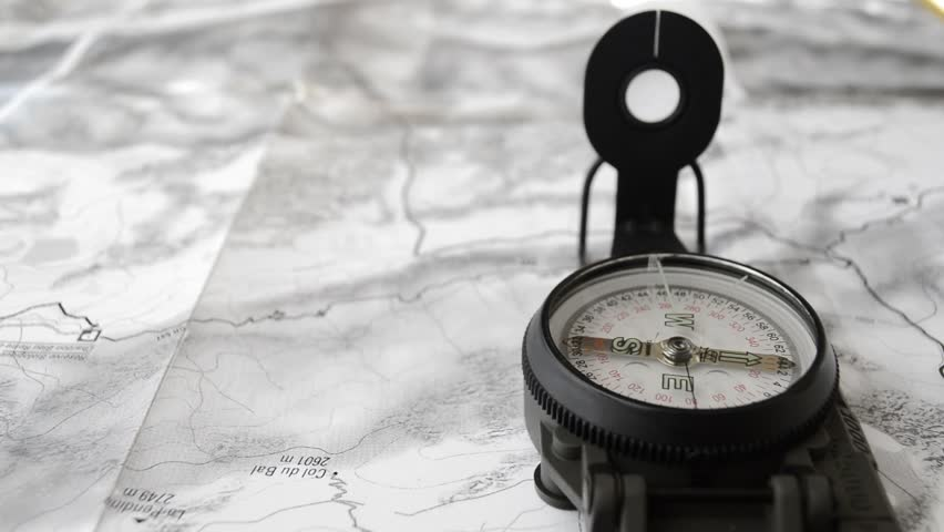 Topographic Map Video Topographic Map with Compass and Stock Footage Video (100
