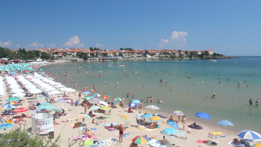 SOZOPOL, BULGARIA - JULY 13: Crowds Go To The Beach To Escape The Heat On July 13, 2010 At Sozopol, Bulgaria